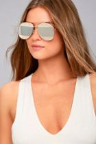 Lulus Fashion Fave Gold And Silver Mirrored Aviator Sunglasses