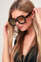 Tradewind Black And Gold Oversized Sunglasses   Lulus