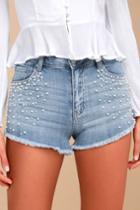 Eunina Lulu Medium Wash Pearl Distressed Cutoff Denim Shorts | Lulus
