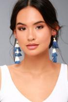 Shashi   Ombre Blue And White Tassel Earrings   Lulus