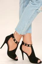 Anne Michelle Lorde Black Suede Peep-toe Booties