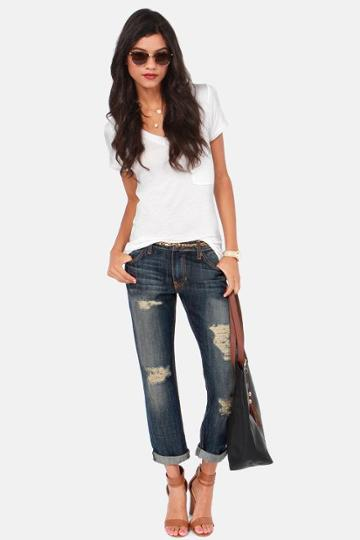 Boyz To Femme Dark Wash Distressed Boyfriend Jeans