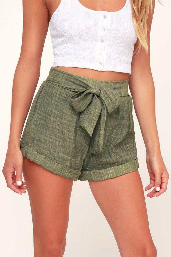 Sage The Label Spell Washed Olive Green Tie-front Shorts | Lulus