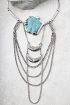 Lulus Style Revolution Turquoise And Silver Necklace