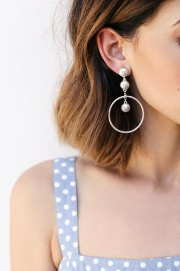Dot, Dot, Drop Silver Earrings | Lulus