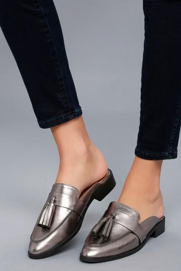 City Classified Zeva Dark Gunmetal Loafer Slides | Lulus