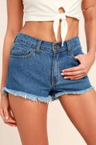 O2 Denim Pastime Paradise Medium Wash Cutoff Denim Shorts