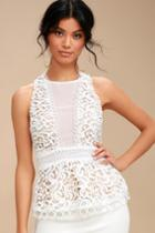 Remmy White Lace Peplum Top | Lulus