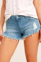 Signature 8 Better With Time Light Wash Distressed Denim Shorts