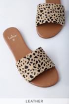 Tara Leopard Calf Hair Leather Slide Sandal Heels | Lulus