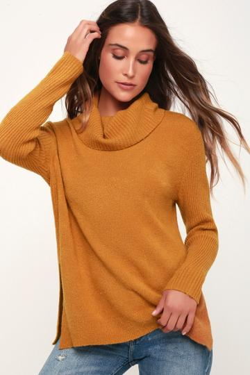 Olive + Oak Brant Dark Mustard Cowl Neck Knit Sweater   Lulus
