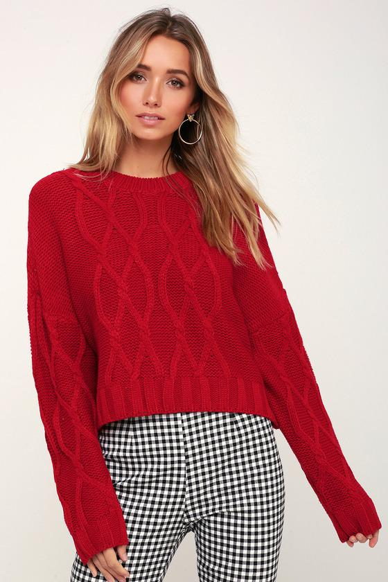 Lush Bavaria Red Cable Knit Sweater | Lulus