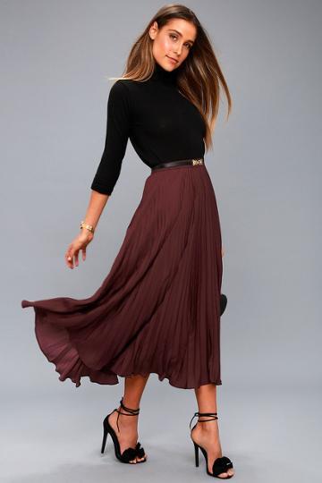 Lost + Wander Bordeaux Plum Purple Pleated Midi Skirt | Lulus