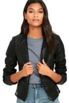 Aakaa You And I Black Vegan Leather Moto Jacket   Lulus