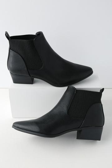 Qupid Claude Black Pointed Toe Ankle Booties | Lulus