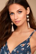 Palamino Beige Tassel Earrings | Lulus