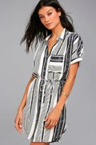 Lulus East End Black And White Striped Shirt Dress