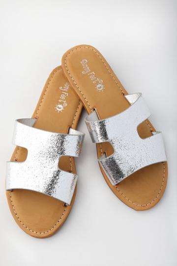 Sunny Feet Kelsie Silver Slide Sandal Heels | Lulus