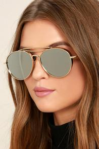 Perverse Solid Gold Mirrored Aviator Sunglasses