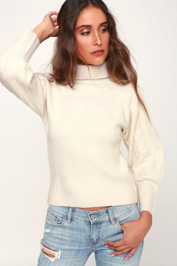 J.o.a. Archer Ivory Cable Knit Turtle Neck Sweater | Lulus