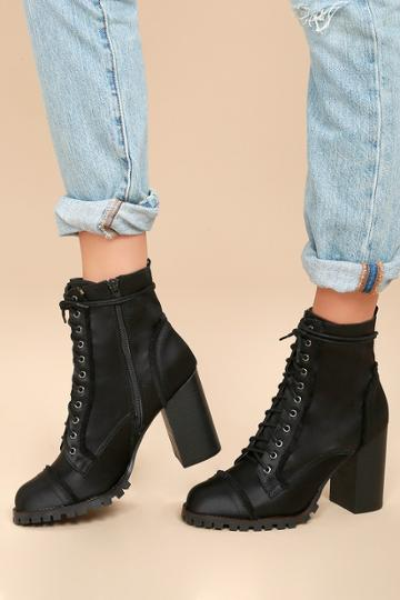 Report | Aileen Black Lace-up Platform Booties | Size 7 | Lulus