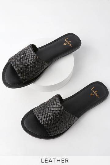 Maddie Black Woven Leather Slide Sandal Heels | Lulus