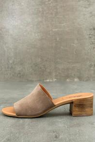 Rebels Rebels Dia Taupe Suede Leather Mules