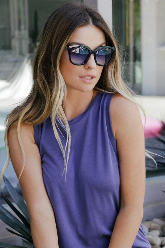Dominant Black And Blue Tortoise Sunglasses | Lulus
