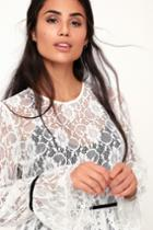 Have My Heart White Lace Long Sleeve Top | Lulus