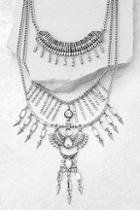 Lulus Gypsy Dreams Silver Layered Statement Necklace