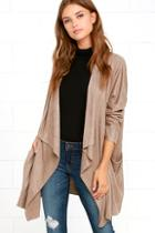 Lulus Dream Day Taupe Suede Jacket