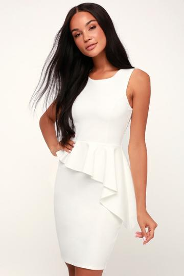 Here And Vow White Ruffled Bodycon Dress | Lulus
