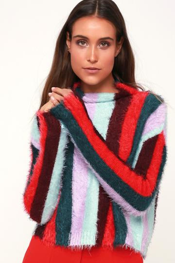 Blank Nyc The Mad Hatter Multi Striped Fuzzy Mock Neck Sweater Top | Lulus