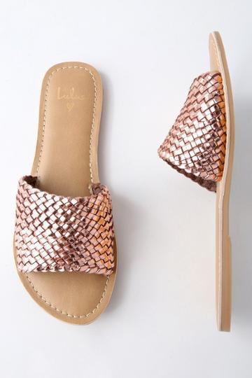 Maddie Rose Gold Woven Leather Slide Sandal Heels | Lulus