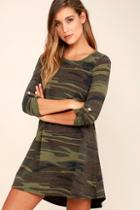 Z Supply Symphony Army Green Camo Print Swing Dress