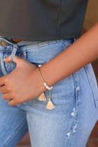 Calesta Gold And Pearl Tassel Bracelet   Lulus