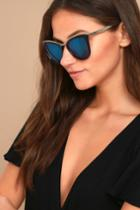 Lulus | Style First Black And Blue Mirrored Sunglasses