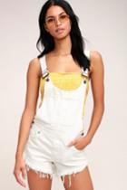 Free People Summer Babe Off-white Denim Short Overalls | Lulus