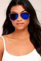 Lulus | Keola Gold And Blue Aviator Sunglasses | 100% Uv Protection