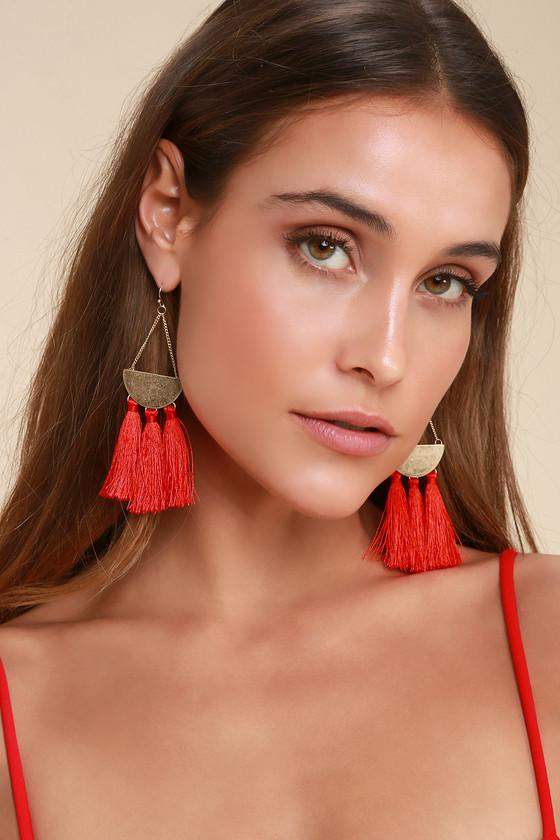 Arriba Red Tassel Earrings | Lulus