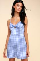 St. Helena Blue And White Gingham Tie-front Dress | Lulus