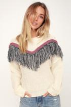 Lush Phenomenon Cream Fringe Knit Sweater | Lulus