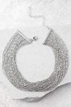 Lulus Love Bug Silver Layered Choker Necklace