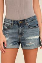 Billabong   Frankie Medium Wash Distressed Jean Shorts   Size 24   Blue   100% Cotton   Lulus
