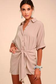 Lulus Go With The Flow Mauve Shirt Dress