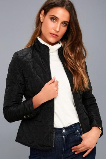 Coalition La | Marquette Black Quilted Jacket | Size Large | 100% Polyester | Lulus