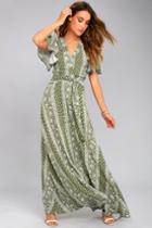 Sage The Label Sage The Label Catalina Olive Green Print Maxi Wrap Day Dress | Size Medium | 100% Rayon | Lulus