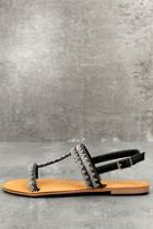 Bamboo Brielle Black Rhinestone Sandals