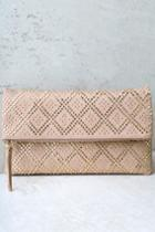 Crowd Pleaser Taupe Studded Clutch | Lulus
