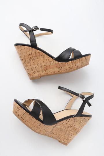 My Delicious Nixie Black Wedge Sandal Heels | Lulus